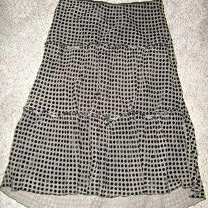 Black Velvet Polka Dot Tier Gypsy Goth Long Skirt